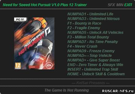 Трейнер +12 для Need For Speed Hot Pursuit v1.0
