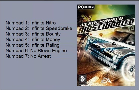 Трейнер +7 для NFS: Most Wanted v 1.3