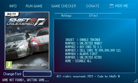 1Need For Speed Shift 2 Trainer